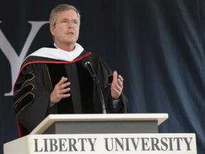Probable U.S. Republican presidential candidate and former Florida Governor Jeb Bush delivers the commencement address at Liberty University in Lynchburg, Virginia May 9, 2015. REUTERS/Stephanie Gross